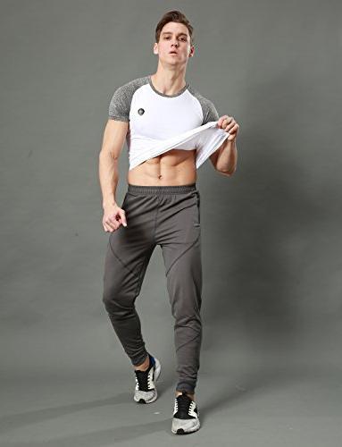 EKLENTSON Men's Workout With Running Pants Drawstring Sweatpants Slim Gray,Gray,US M Tag