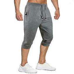 MANSDOUR Men's Jogger Capri Pants 3/4 Workout Gym Sweatpants