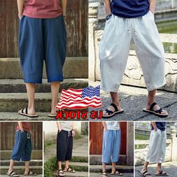 Men 3/4 Calf Length Jogger Shorts Harem Pants Sports Trouser