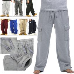 MEN PRO CLUB CARGO SWEAT PANTS TRACK FLEECE WARM WINTER HEAV