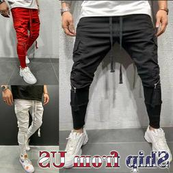 Men Casual Baggy Joggers Pants Sweatpants Cargo Active Sport