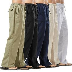 Men Cotton and Linen Loose Long Pants Elastic Waist Straight