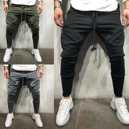 Men Jogger Sport Pants Gym Bodybuilding Casual Zipper Pocket