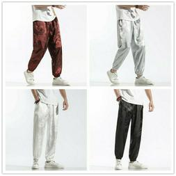 Men Pants Harem Trousers Dragon Tai Chi Loose Faux Silk Sati