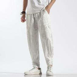 Men Long Pants Harem Trousers Dragon Tai Chi Loose Faux Silk