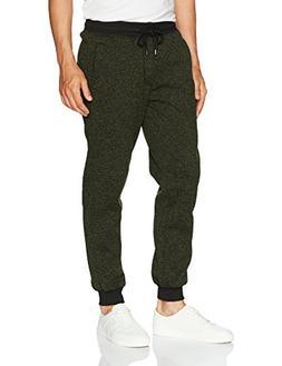 Southpole Men's Basic Fleece Marled Jogger Pant, Olive, X-La