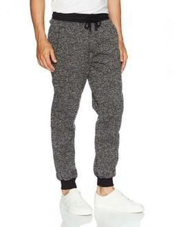 Southpole Men's Basic Fleece Marled Jogger Pant, Black, Medi