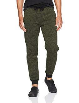Southpole Men's Basic Fleece Marled Jogger Pant, New Olive,