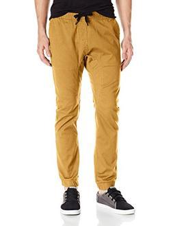 Southpole Men's Basic Stretch Twill Jogger Pants, Caramel, L