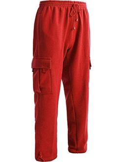 Men's Cargo Sweatpants Heavyweight Fleece Long Pants 60/40 S