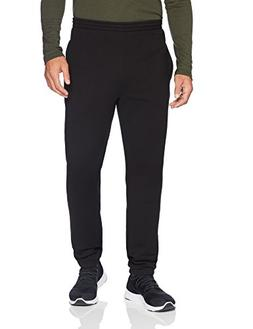 men s closed bottom fleece pant black