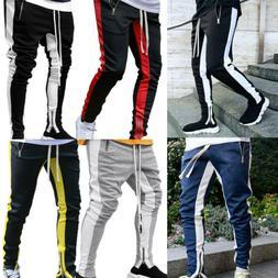 Men's Contrast Sport Pants Zipper Pocket Tracksuit Joggers T