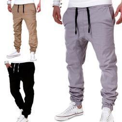 Men's Drawstring Sweatpants Harem Casual Trouser Sport Long