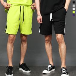 Men's Fashion Side Double Line Color Short Sweatpants 022, G