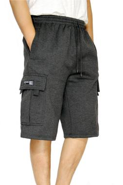 MEN'S FLEECE CARGO SHORTS HEAVYWEIGHT M-5XL 12 COLORS DREAM