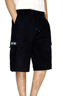 DREAM USA Men's Fleece Cargo Shorts Heavyweight ,Black, Larg