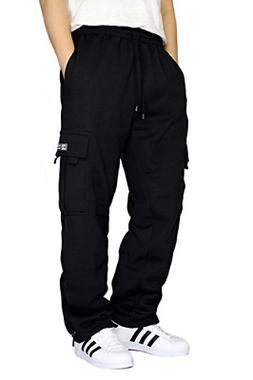 DREAM USA Men's Fleece Cargo Sweatpants Heavyweight M-5XL