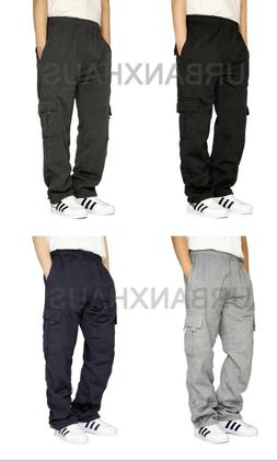 MEN'S FLEECE CARGO SWEATPANTS HEAVYWEIGHT S-3XL 4 COLOR