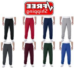 Men's Fleece Elastic Bottom Workout Gym Pants Plain Sweatpan