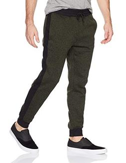 Southpole Men's Fleece Joggers, Marled Olive Side Panel, Lar