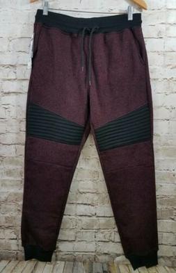 Southpole Men's Fleece Joggers Pants Sweatpants Burgundy Med
