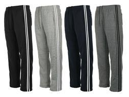 Men's Fleece Track Jogger Pants Open Bottom Casual ActiveGym