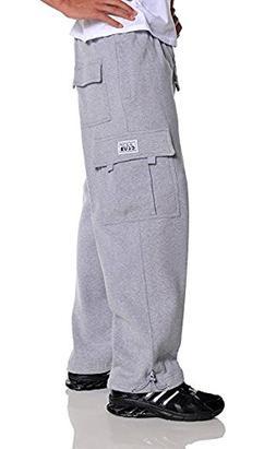 Pro Club Men's Heavyweight Fleece Cargo Pants, Large, Heathe