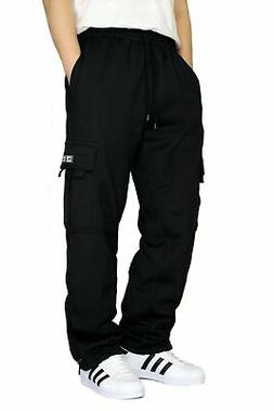 DREAM USA Men's Heavyweight Fleece Cargo Sweatpants Black Me