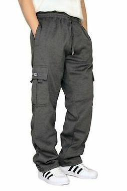 DREAM USA Men's Heavyweight Fleece Cargo Sweatpants Charcoal