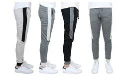 Men's Jogger Sweatpants w/ Side Stripe French Terry Slim-Fit