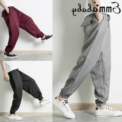 Men's loose  Casual Joggers Trousers Sweatpants Long Pants W