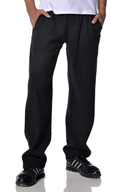Pro Club Men's Open Bottom Comfort Fleece Sweatpant, Black,