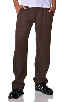 Pro Club Men's Open Bottom Comfort Fleece Sweatpant, Brown,