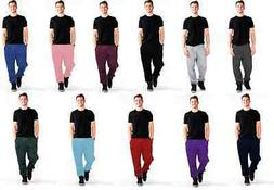 Men's Skinny Plain Jogger Fleece Winter Sweatpants with Pock