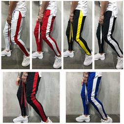 Men's Striped Drawstring Active Athletic Casual Jogger Sweat