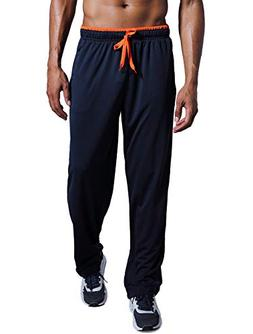 Zengvee Men's Sweatpant with Zipper Pockets Open Bottom Athl