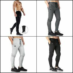 Men's Zip Joggers Pants Casual Gym Fitness Trousers Sweatpan