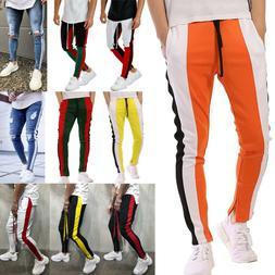 Men Slim Fit Tracksuit Sports Gym Pants Zipper Skinny Jogger