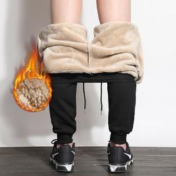 Men Winter Casual Sweatpants Trousers Fleece Lined Thick War