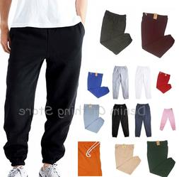 MEN WOMEN UNISEX ELASTIC WAIST FLEECE LIGHTWEIGHT SWEATPANTS