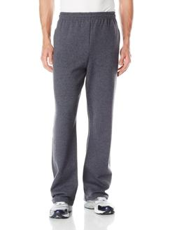 Jerzees Mens Adult Open Bottom Sweatpants, Black Heather, 3X