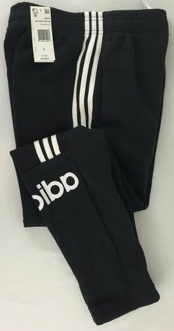 Adidas Mens Black w/White Stripe Fleece Jogger Sweatpants Si