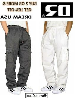 DREAM USA MENS CASUAL CARGO SWEATPANTS FLEECE CARGO PANT