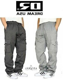 DREAM USA MENS CASUAL CARGO SWEATPANTS FLEECE