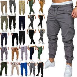 mens casual trousers joggers cargo combat sport