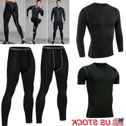 Mens Compression Pants Shirt Under Base Layer Workout Runnin