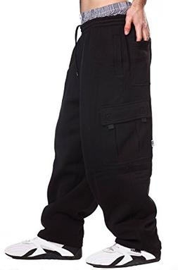 Mens Fleece Cargo Sweatpants, 2XL, Black