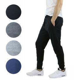 mens fleece jogger pants slim fit zip