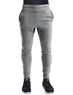 Hat and Beyond Mens Fleece Jogger Pants Zipper Elastic Activ