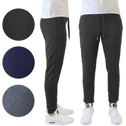 Mens Fleece Jogger Sweatpants w/ Zipper Pockets Slim-Fit War